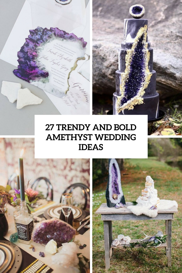 trendy and bold amethyst wedding ideas cover