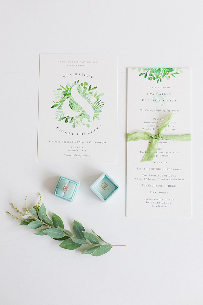 This beautiful wedding shoot was inspired by this stationery suite and spring itself