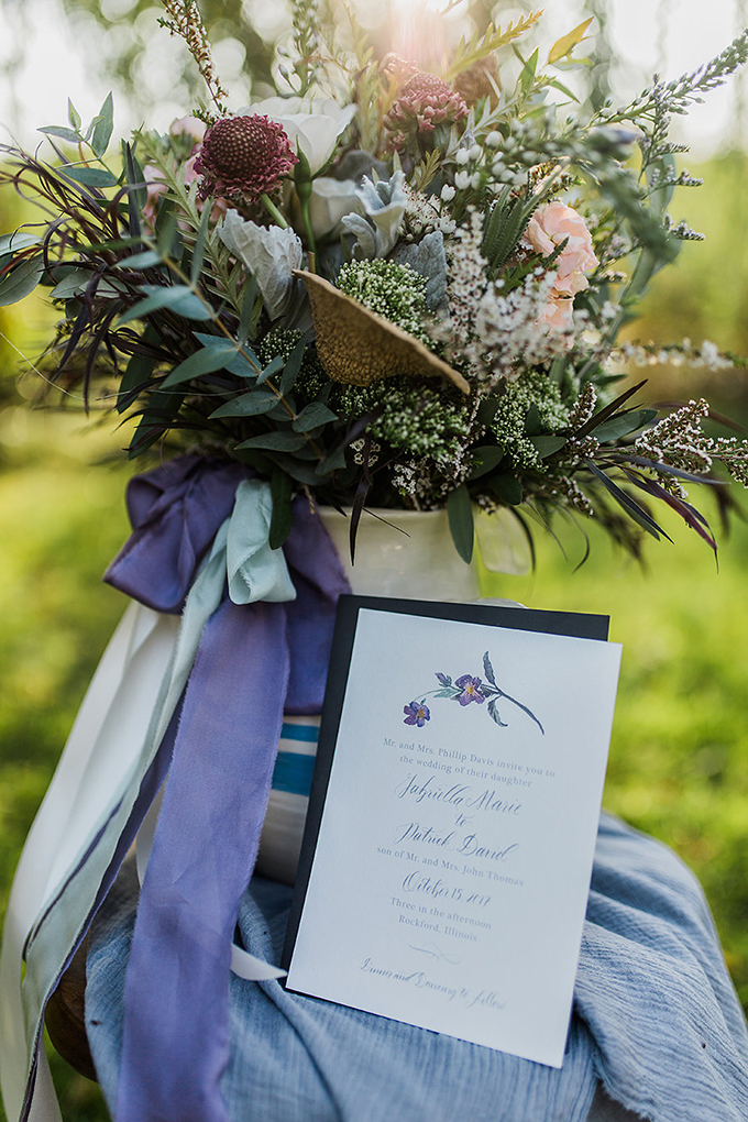 This botanical wedding shoot is an amazing blend of new and old, with all the mid west traditions incorporated