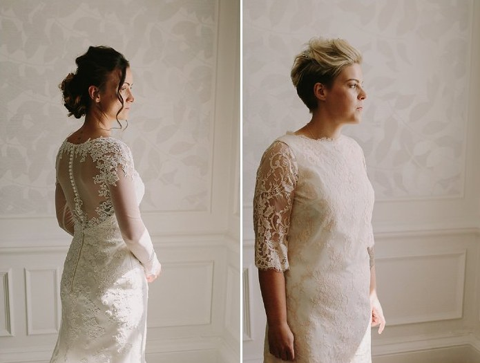 The first bride opted for an illusion back and bodice wedding dress with buttons, and the second chose a high neckline one with blush lace appliques