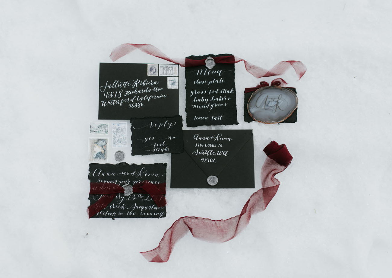 moody wedding stationary in black tones