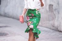 03 a floral peplum high low green skirt, a white blouse with statement sleeves, strappy heels and a pink clutch