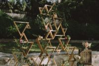 03 a stylish geometric wedding backdrop with greenery and blooms is ideal for many wedding styles, boho chic most of all
