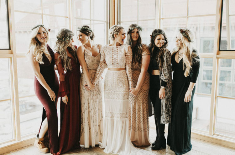 The bridesmaids were rocking different outfits, and one girl was even wearing leggings