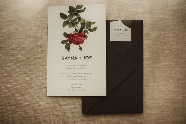The wedding stationery was done with black envelopes and rose prints