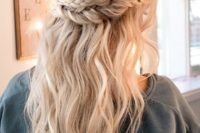 04 a double braid halo with wavy locks down for a romantic and relaxed or boho look