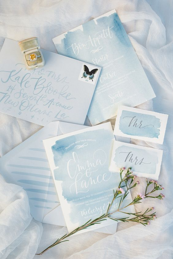 light blue watercolor wedding stationery suite for a seaside wedding