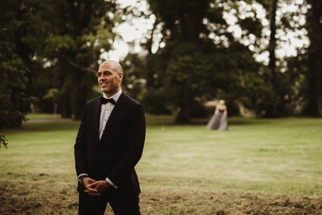 The groom opted for a classic black tux look