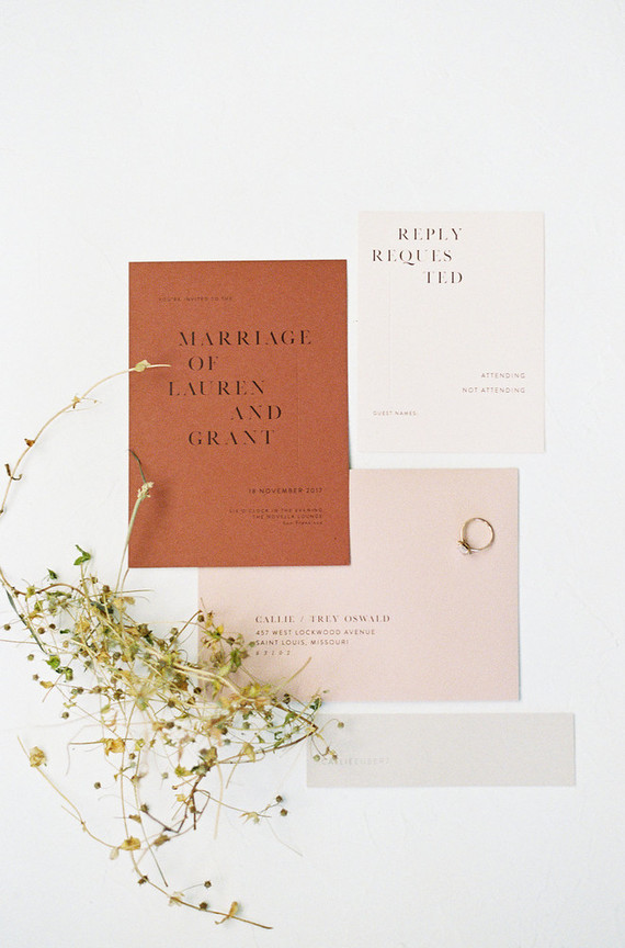 The wedding invitation suite was done in traditional fall shades plus pastels and was kept minimal