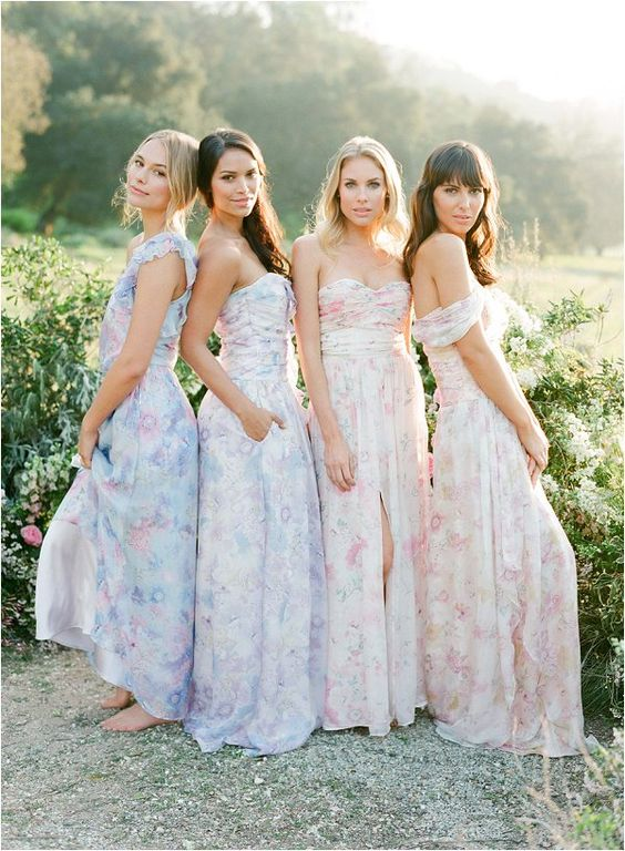 subtle watercolor floral bridesmaids' dresses   strapless and off the shoulder in lavender and pink shades