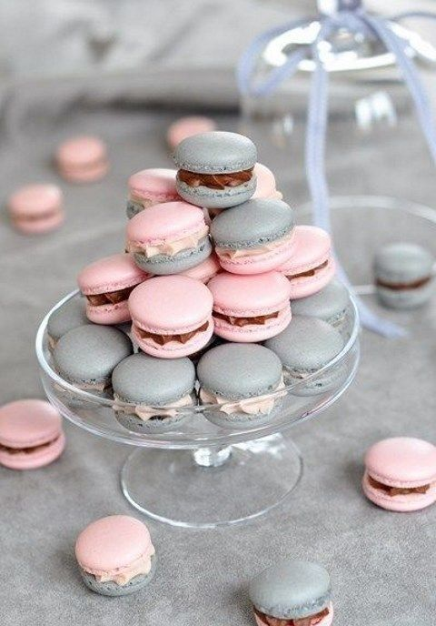 a grey and pink macaron tower instead of a traditional wedding cake