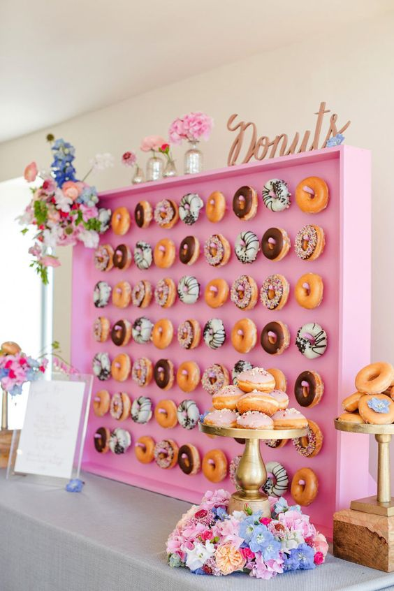 a pink box donut wall for those who love glam and cute decor