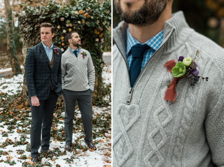 The groomsman was wearing grey pants, a checked shirt, a navy tie and a cable knit sweater