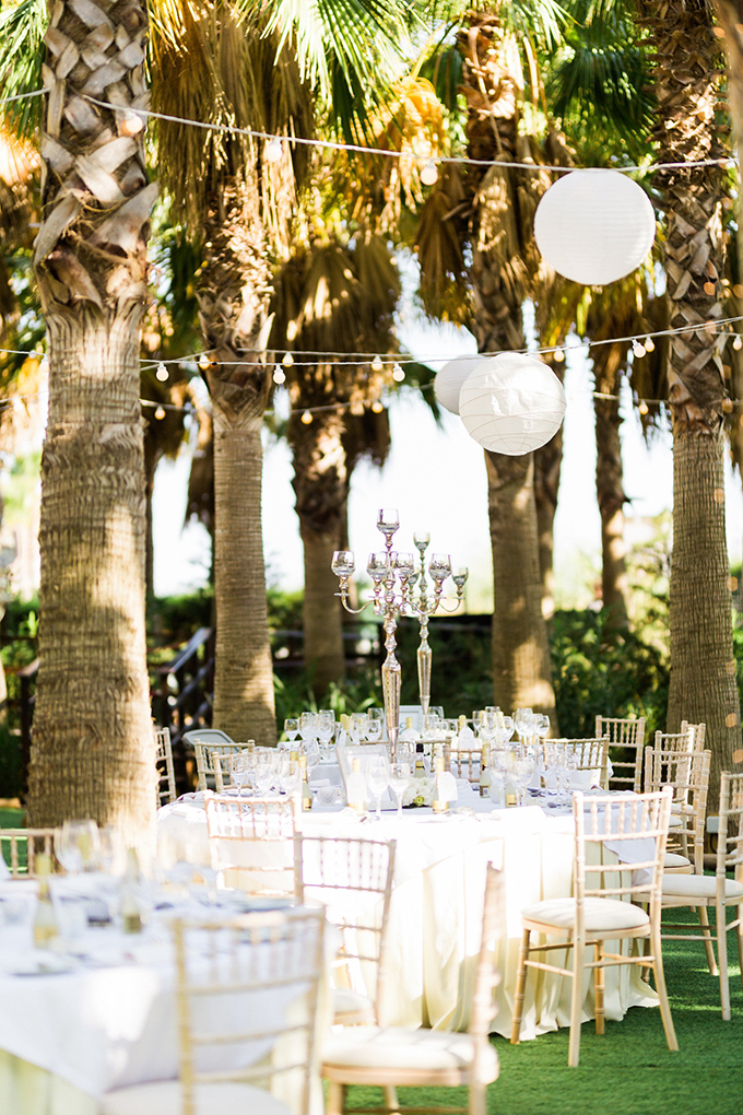 The tables were also moved to the garden because the grooms enjoy the tropical landscapes
