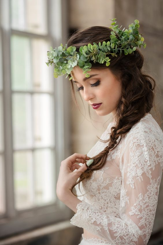 a fresh eucalyptus crown instead of a floral one for a trendy look