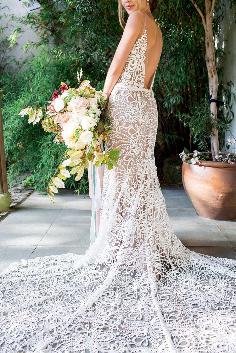 An open back and a train made the gown totally jaw-dropping