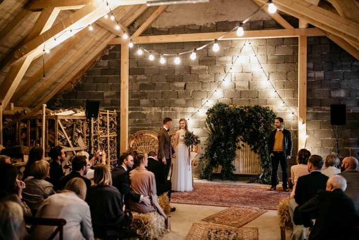 cool string lights for indoor ceremony