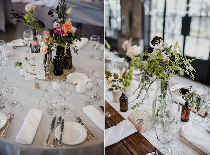 The tables were decorated in a simple and elegant way, with different flowers and greenery