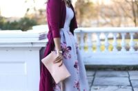 08 a floral A-line midi skirt, a white top, a plum-colored cardigan, blush shoes and a matching clutch