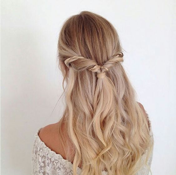 Half Up Wedding Hair Ideas: Picture Of A Twisted Half Updo With An Accent Braid And