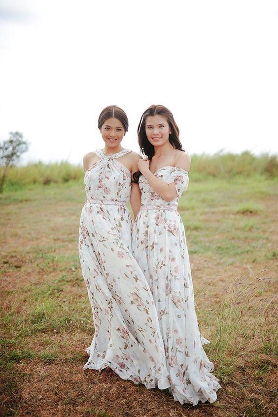 neural bridesmaids' dresses-off the shoulder and halter neckline with a subtle blush floral print
