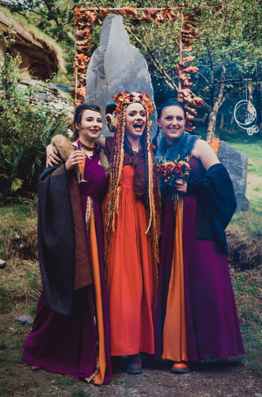 The bridesmaids were wearing beautiful and bold dresses, similar ones especially for the ceremony