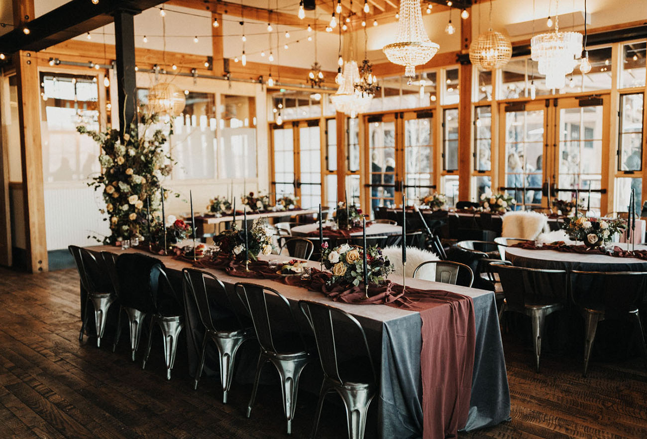 The reception took place at a distillery, which was done in decadent and wild theme