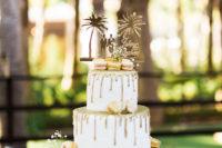 wedding cake with golder drips