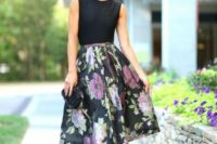 09 a black sleeveless top and a floral midi A-line skirt plus hot pink heels is a timeless and elegant look