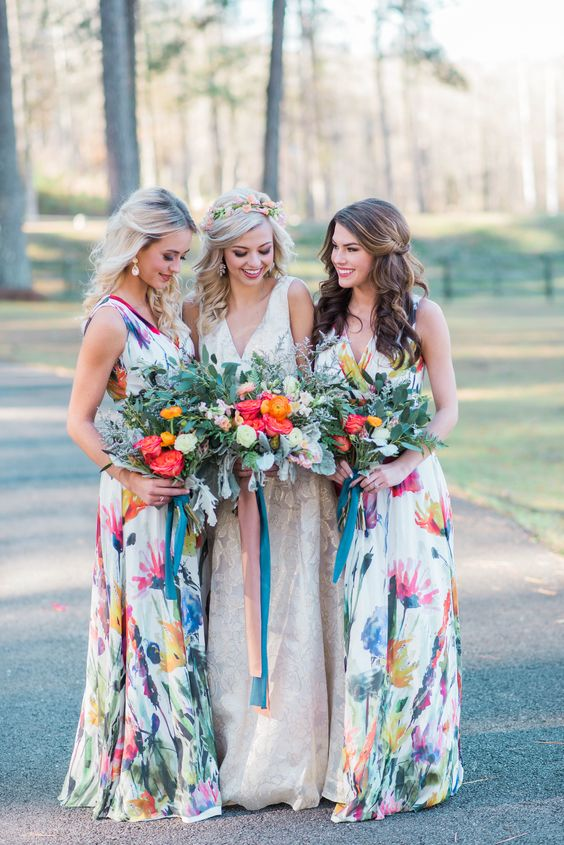 wide strap maxi dresses with a V-neckline and watercolor floral prints for a bold wedding