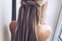 10 Dutch braided half updo hairstyle with long hair down for those who don't want any waves
