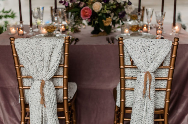 The chairs were covered with knits to make the space cozier
