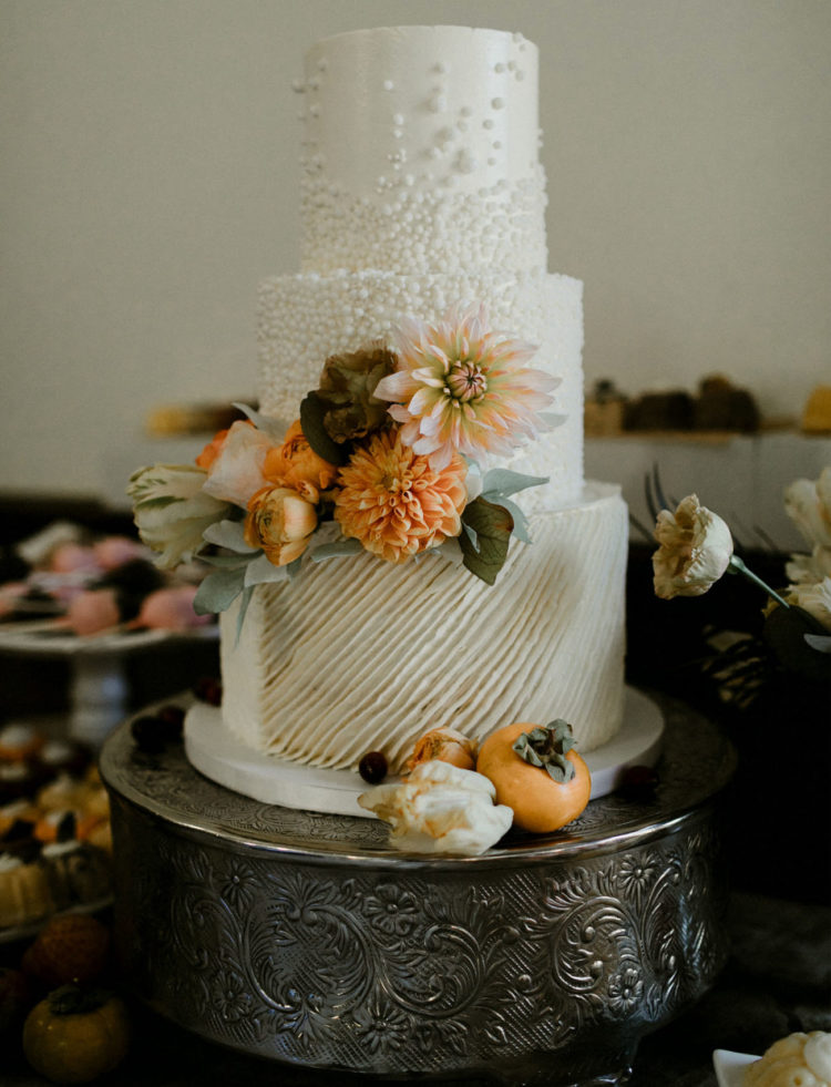 The wedding cake was perfectly styled with fresh blooms and textural touches and matched the wedding like no other