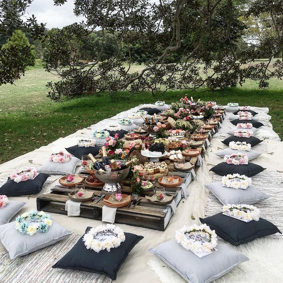 Picture Of A Gorgeous Boho Picnic Setting With Pallet