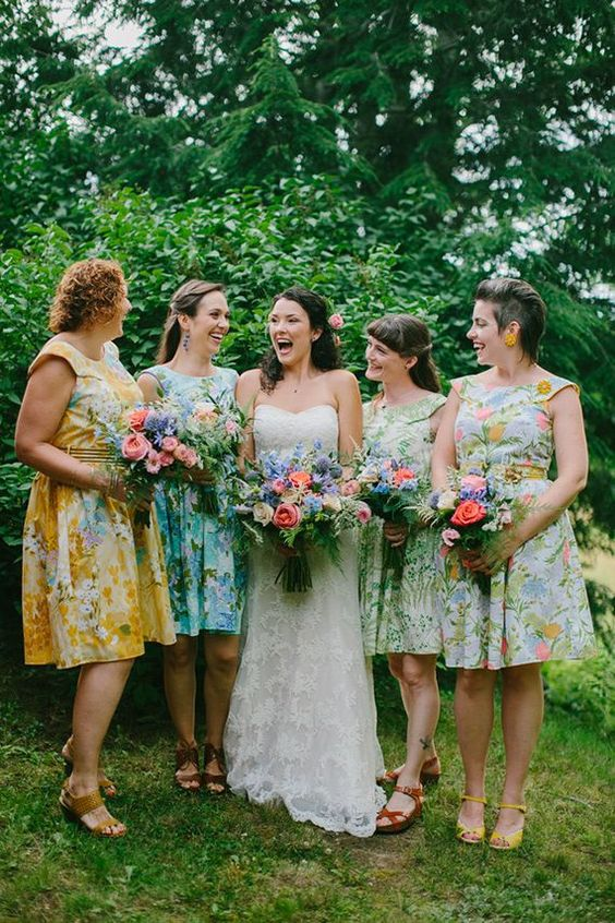bold mismatched over the knee floral dresses are right what you need for a relaxed summer wedding