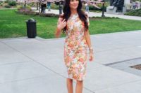 13 a floral print sheath knee dress, ankle strap shoes, statement accessories