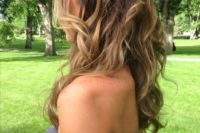 13 wavy half updo with a braid and volume and with ombre coloring for a more interesting look