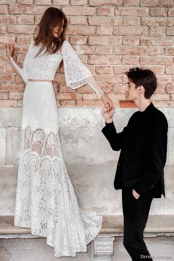 a boho long bell sleeve bridal separate with a long skirt, a crop top and a high neckline of lace