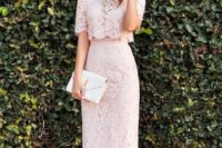 15 a nude lace top and midi skirt plus a statement pearl necklace and blush shoes, a small white clutch