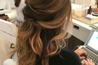 15 a twisted wavy half updo is a chic idea to try and is great for both long and medium-length hair