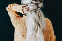 16 a cool twisted half up ponytail with long waves down for a relaxed wedding