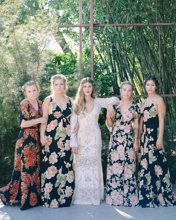 dark mismatched floral print dresses with and without sleeves for a boho wedding