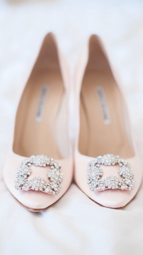 blush Manolo Blahnik shoes will perfectly complete a spring bridal look