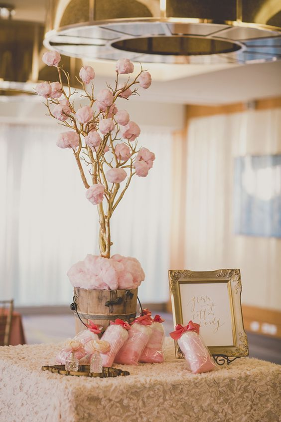 pink cotton candy tree and bags of ombre cotton candy bags for styling a favor table