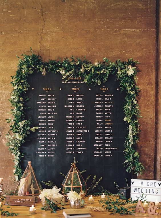 a chalkboard seating chart done with a chalk pen and decorated with a fresh greeneyr garland