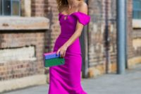 21 a hot pink off the shoulder dress with a playful neckline, pink metallic shoes and a colorful clutch