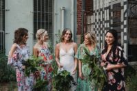 468810753fab 26 Chic Floral Bridesmaids' Dresses To Get Inspired · mismatching dark  floral bridesmaids' dresses of various lengths and looks