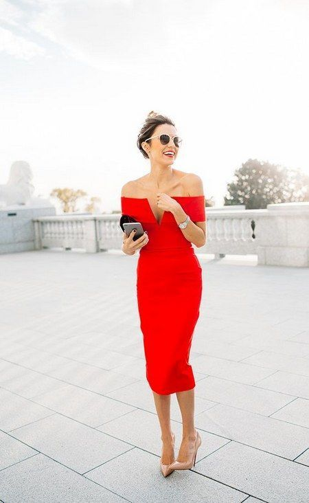 a red off the shoulder midi dress with a plyful neckline and nude heels are all you need for a chic look