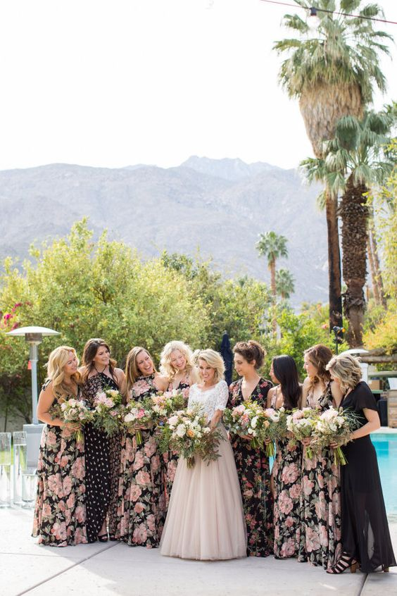 mix and match floral bridesmaids' dresses in black and blush or pink plus girls in black
