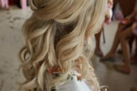 24 a pretty half up hairstyle with curls and volume on op is a chic idea for any girl